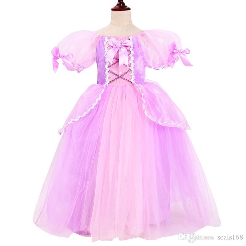 Costume cosplay ragazze Rapunzel Princess Dress Up bambini manica Puff 6 strati Tangled partito dei vestiti per il Natale di Halloween di sfera HH7-1430