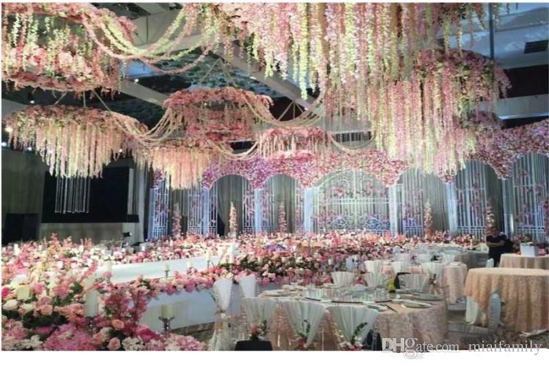 Новое прибытие элегантный искусственный Hydangea Шелковый цветок винограда Главная настенные глицинии гирлянда 14 цветов, доступных для свадьбы Рождество украшения