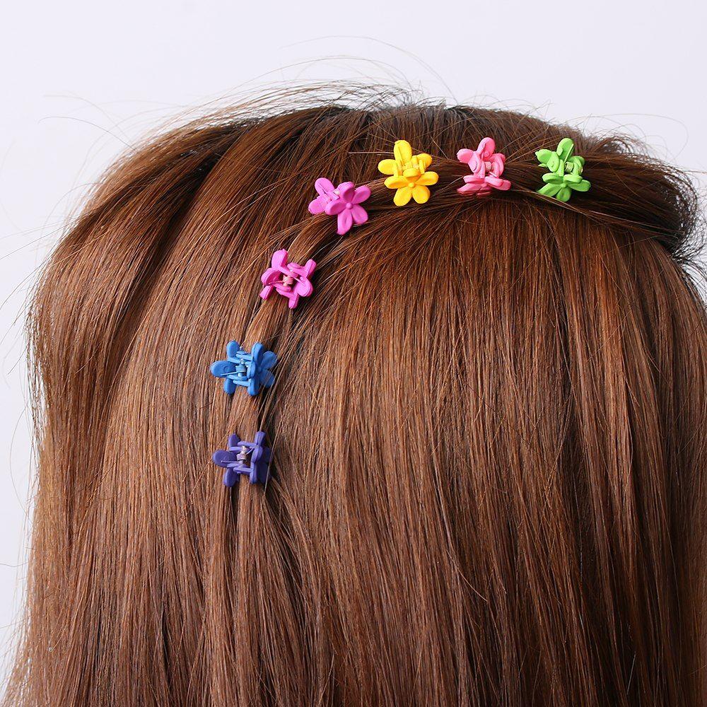 200pcs Random Color Cute Children Girls Hairpins Small Flowers Gripper 4 Claws Plastic Hair Clip Clamp Barrettes Hair Accessories Wedding