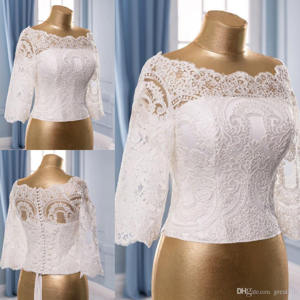 Cheap Ivory Wedding Wraps Lace Off The Shoulder Half Sleeve Short Bridal Jackets White Shawl Coats Wedding Accessories Shrugs Covered Button