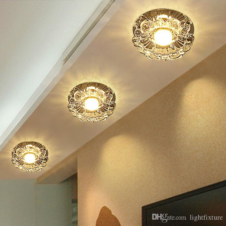 Crystal Down Light 5W LED Aisle Lamp Spotlight Living Room Crystal Chandelier LED Ceiling Lamp Surface Mount Embedded Corridor Lamp