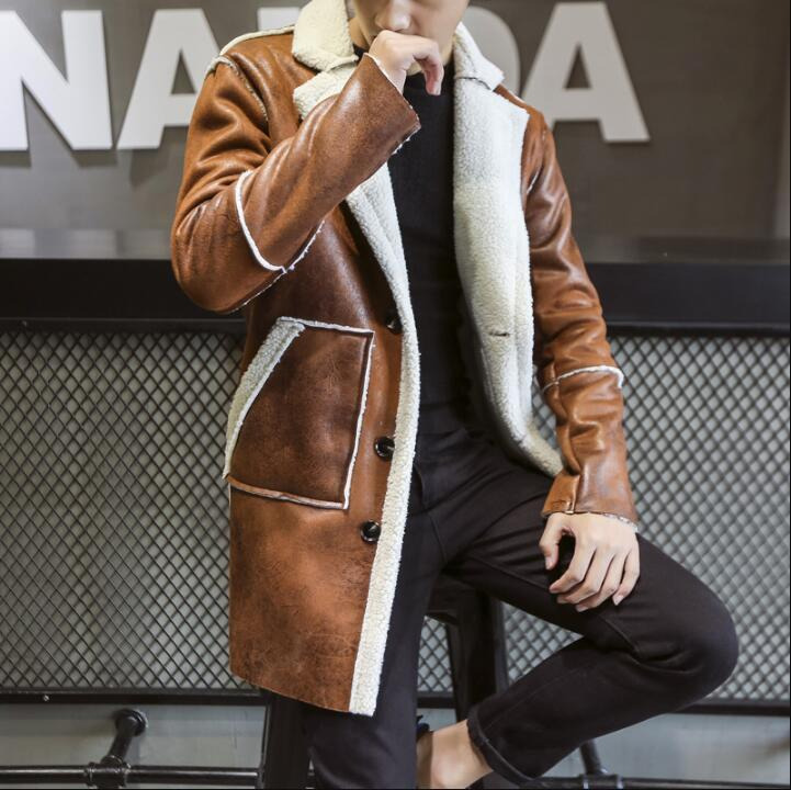 2018 New Fashion Winter Casual Thick Warm Trench Coats Men Collar Suede Leather Mens Faux Fur Coat Motorcycle Long Overcoat C18110501