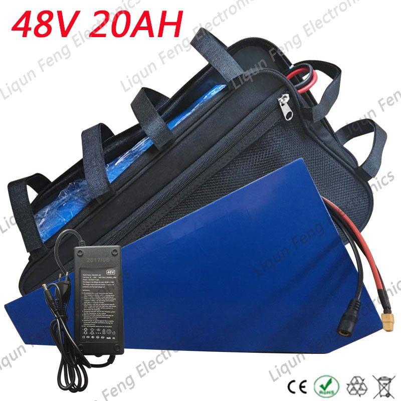 EU US keine Steuer 48V 20AH Dreieckbatterie 1000W 48V Elektroradbatterie 48V 20AH Lithiumbatterie mit Tasche 54.6V 2A Ladegerät