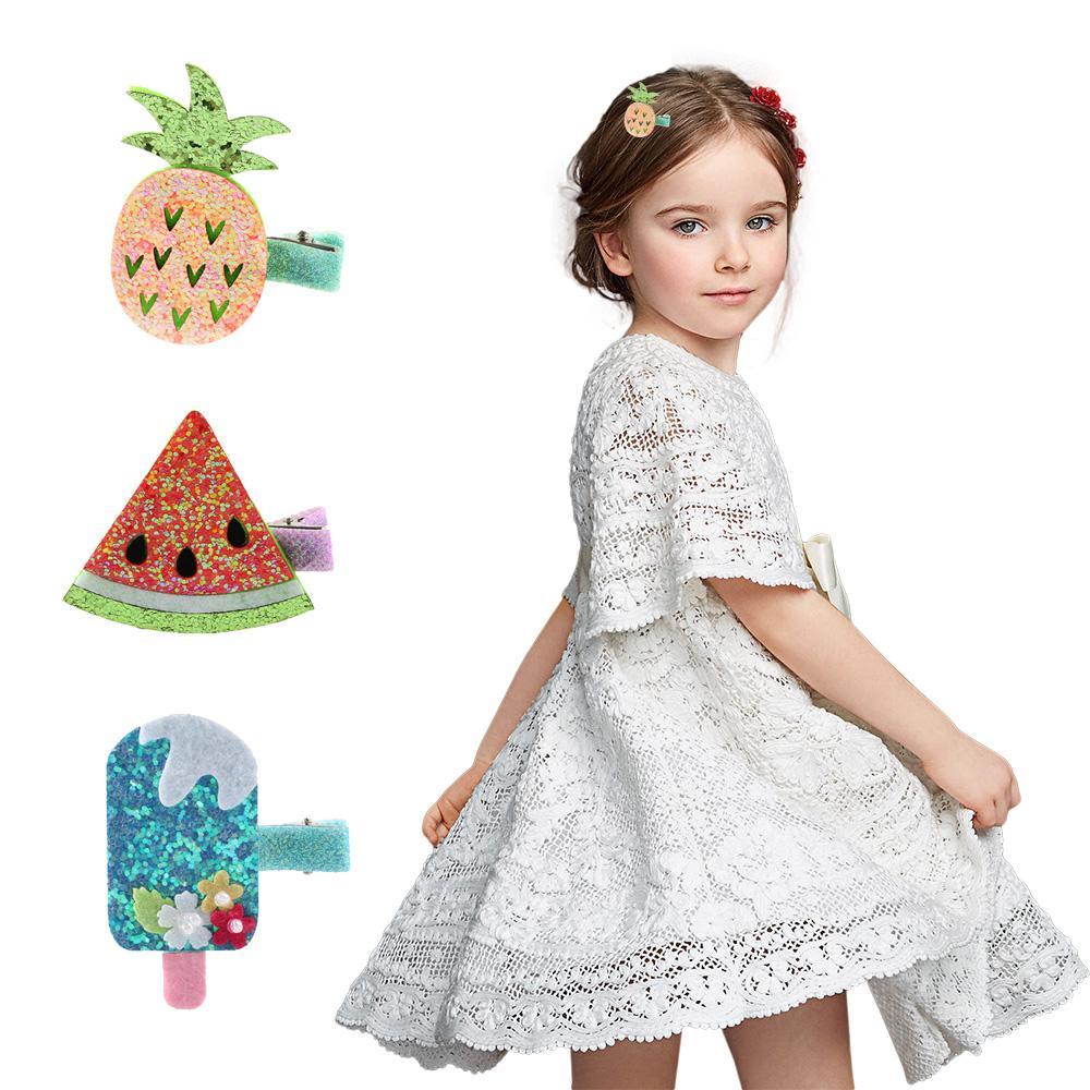 1 Adet PVC Karikatür Sevimli Dondurma Saç Klipleri Meyve Tokalar Tokalarım Çocuklar Kız DIY El Sanatları El Yapımı Saç Aksesuarları