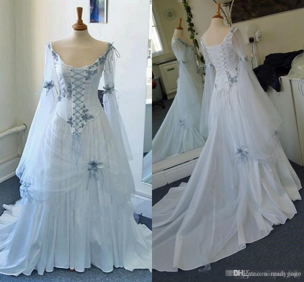 Старинные кельтский готический корсет свадебные платья с длинным рукавом плюс размер небесно-голубой средневековый Хэллоуин случаю свадебные платья