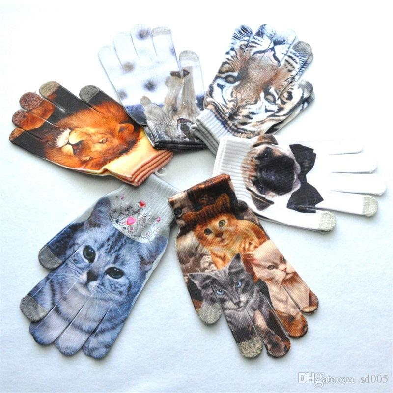 Men Women Cold Proof Warm 3D Pattern Glove Digital Colour Decoration Touch Screen Knit Gloves Fit Winter 4 35qs ff