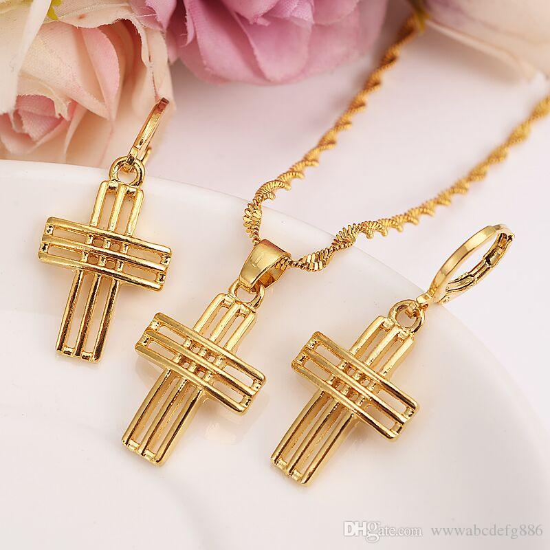 Fashion three-dimensional line Necklace Earring Set Women Party Gift 9 k Yellow Gold Filled cross pendant Jewelry Sets