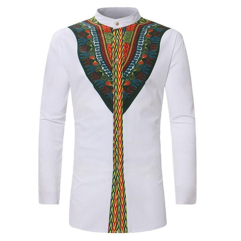 Afrique Vêtements Africain Dashiki Shirt 2018 Mode Ethnique Imprimé À Longue Ligne Shirt Hommes Slim Fit À Manches Longues Chemises Mâle Camisas