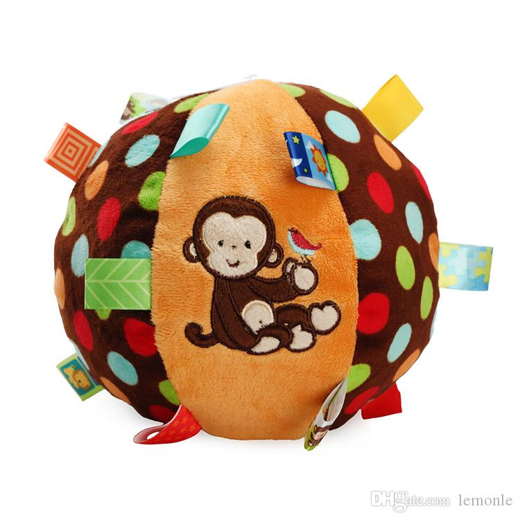 Baby Hand Cloth Ball Plush Toys Lathe Hanging Toys Handbell Newborn Colorful Soft Hand Grasp Rattle Pacify Ball