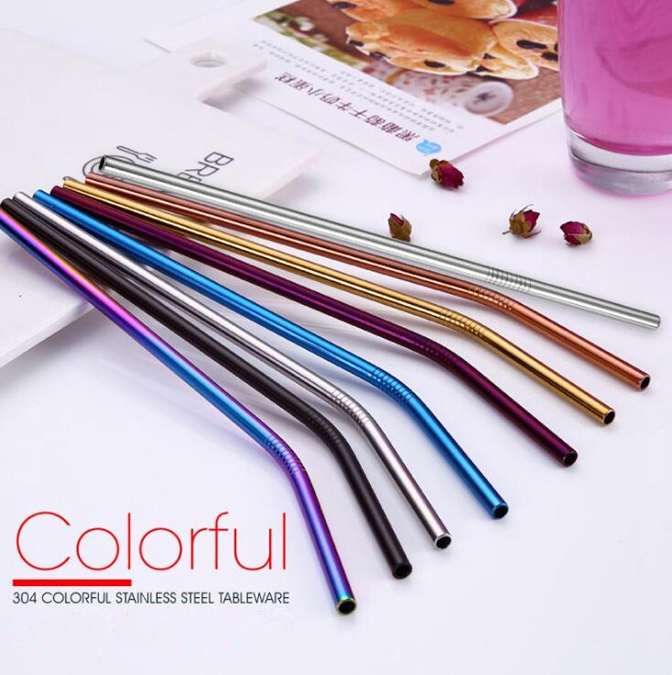 Colorful Stainless Steel Drinking Straw 21.5cm Straight Bent Reusable Straws Juice Party Bar Accessorie OOA4998