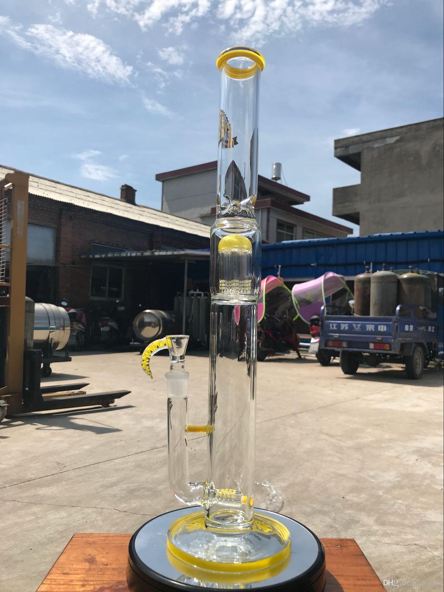 Yeni tasarım 21 inç sarı büyük sopa ağacı çatal matkap bong sigara tütün tütün yağı ile 19mm kase ve ücretsiz teslimat