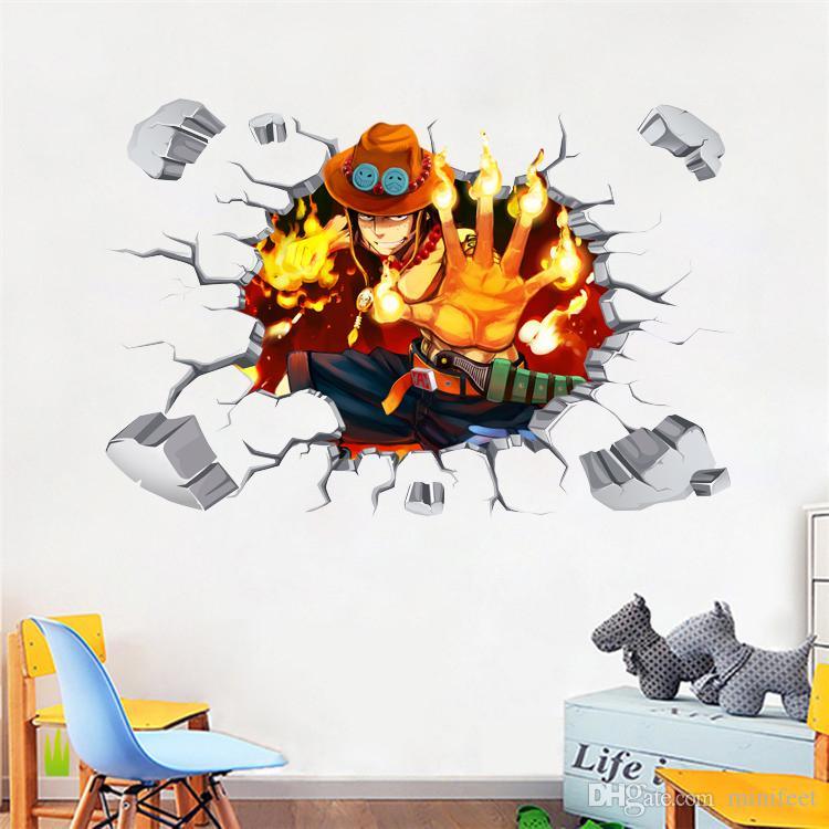 Cartoon Anime ONE PIECE 3D Stickers Ace Luffy Flame Straw Hat Wall Stickers PVC Self-adhesive Wallpapers Can Be Removable Boy Bedroom Decor