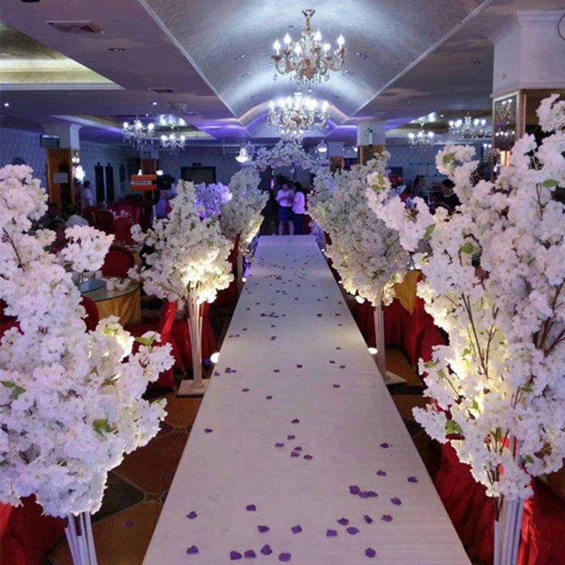 5FT يؤدي التل الكرز الاصطناعي الأبيض زهر شجرة الروماني العمود الطريق لافتتاح الزفاف مول الدعائم