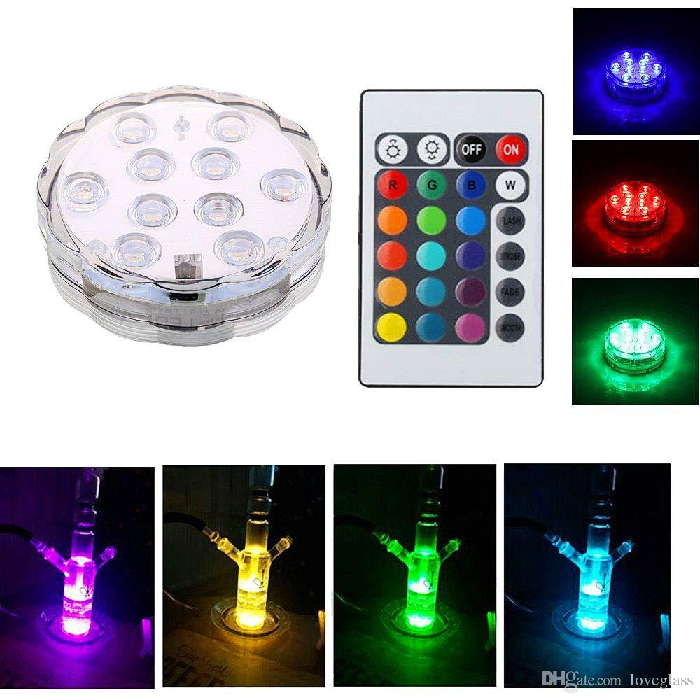 New Waterproof LED lights with remote control for glass bongs oil rigs hookah and shisha water pipe and fish tank flower vase lamps