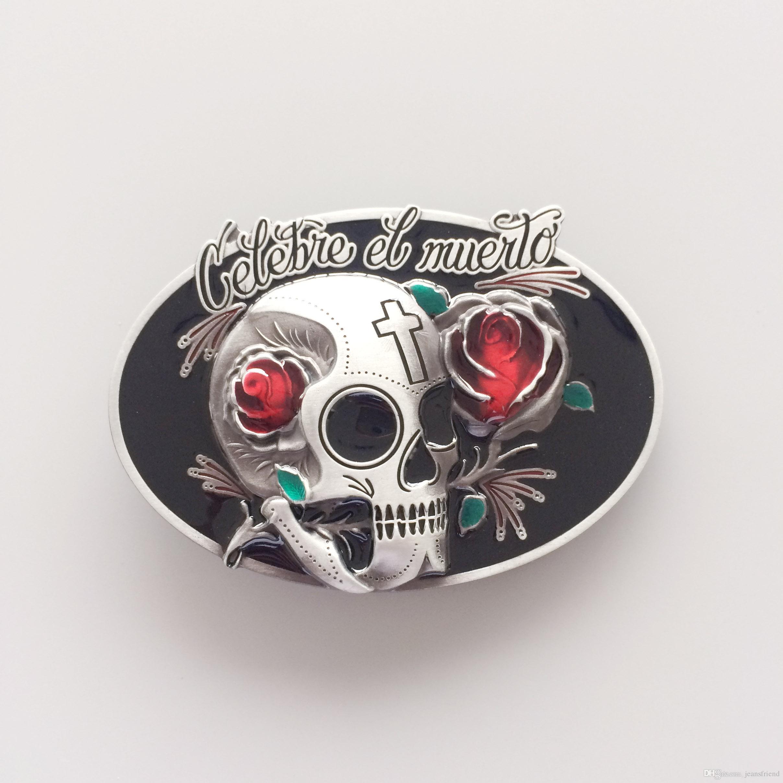Nuevo Vintage Oval Tattoo Rose Flower Skull Día de la boda hebilla Gurtelschnalle Boucle de ceinture BUCKLE-SK035
