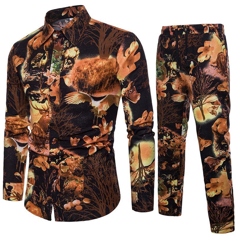 Yaz erkek Uzun Kollu Çiçek Gömlek ve İpli Çiçek Pantolon Coon ve Keten Erkek Setleri Büyük Boy S-5XL