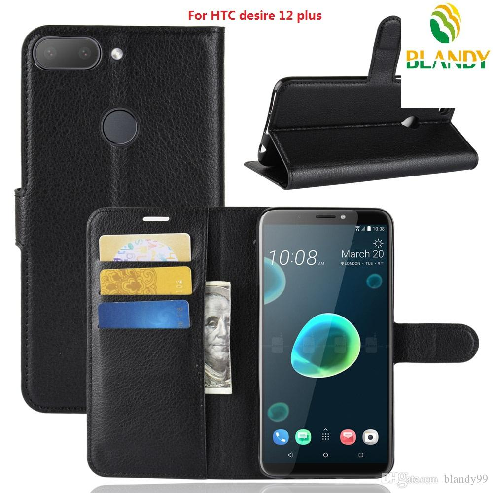 phone case For HTC desire 12 plus Litchi lychee wallet leather PU TPU phone cover Case For HTC