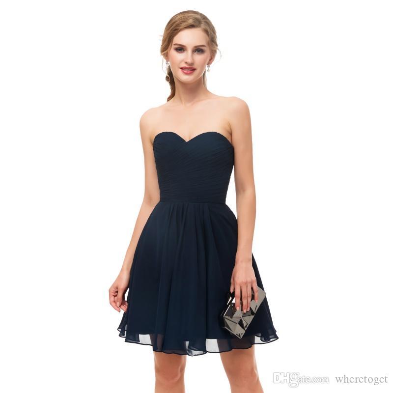 Compre 2019 Barato Corto Armada Vestidos De Dama De Honor Azul Plisados Amor De La Gasa Dama De Honor Formal De Los Vestidos Prom Vestidos Del