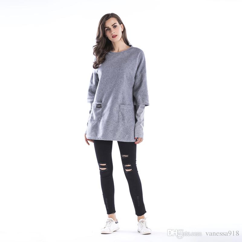 long Sleeve Curved Hem Womens Tee Shirts Autumn winter Womens T shirts Casual Ladies Black long T shirt dress Woollen BM0109