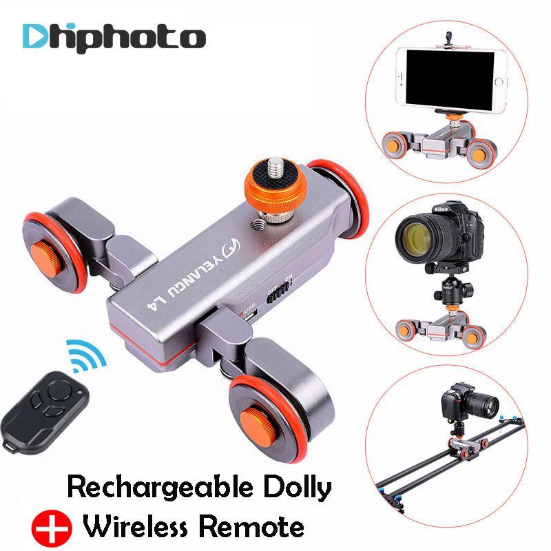 Comercio al por mayor DSLR Motorizado Eléctrico Autodolly Video Polea Rolling Skater Slider w Control Remoto para iPhone Canon Cámara Vlogging