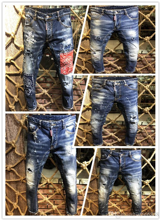 2019, новый бренд моды европейских и американских летних мужской одежды джинсы мужские повседневные джинсы A206