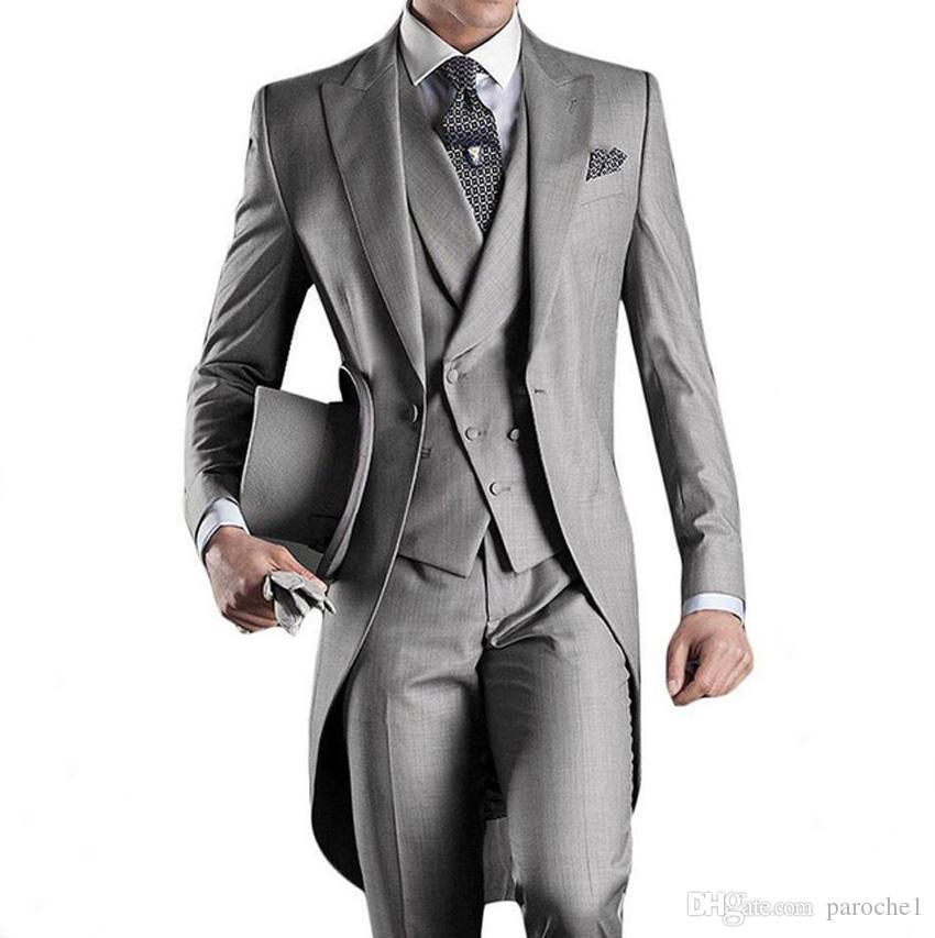 Классический Фрак стиль для жениха смокинги Человек пиджак для дружки костюм выполненный на заказ костюм человека 3 цвета Свадебный костюм (куртка + брюки + жилет)