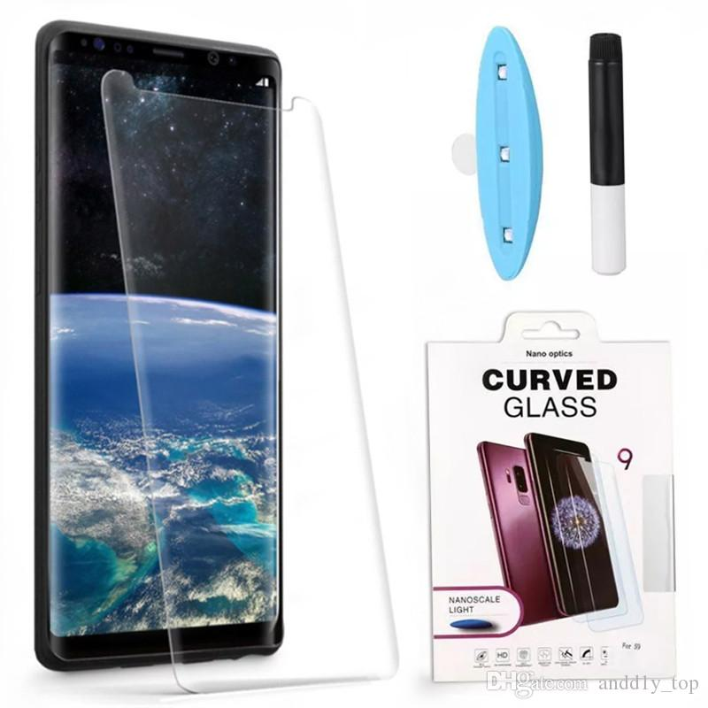 Full Adhesive Case Friendly Film Tempered Glass for Samsung Galaxy Note 9 S9 S8 Plus Liquid Glue Screen Protector with UV Light Prote
