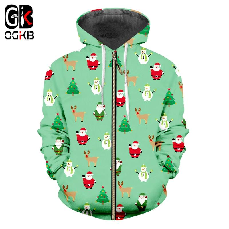 OGKB New Man Lovely Coat 3D Printed Santa Claus And Snowman Mini Tree and Elk Big Size 5XL Men's Zip Hoodiees