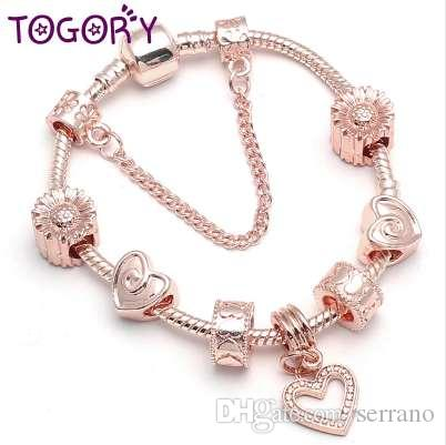 TOGORY Color oro rosa pulsera del encanto del brazalete con amor cadena de serpiente de cristal pulsera fina para las mujeres joyería de la boda regalo