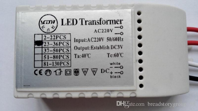 Conductor AC220V LED transformador de la iluminación LED Controlador de fuente de alimentación para el bulbo del LED puede conducir 2-130 LED