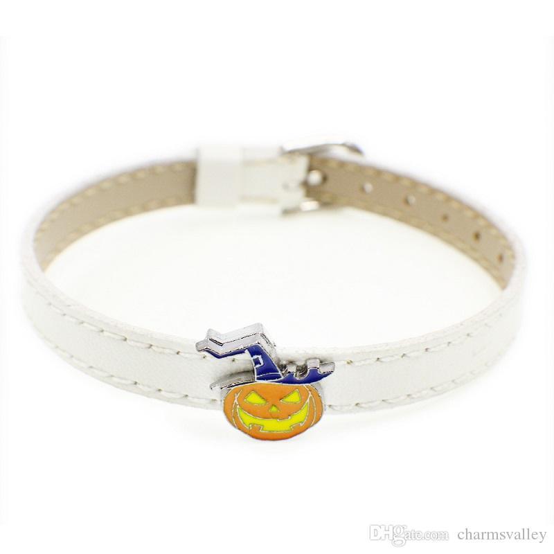 10шт 8 мм эмаль Хэллоуин тыква слайд подвески подходят 8 мм имя питомца ремни полосы брелок браслеты браслеты