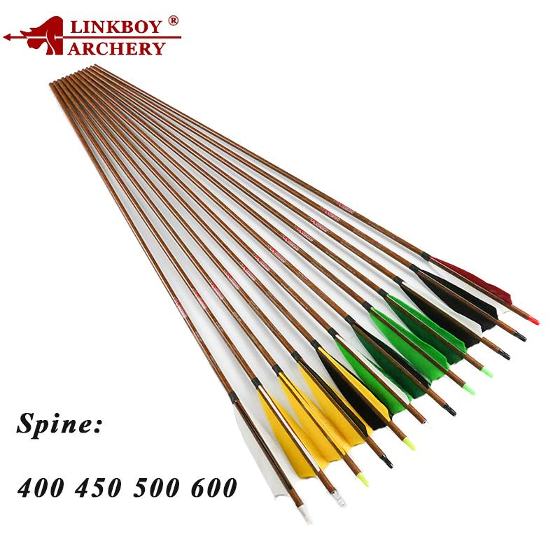 Linkboy Archery pure carbon Arrows 5inch turkey feathery spine400 32inch arrow point 75gr bohning nock for compound bow hunting