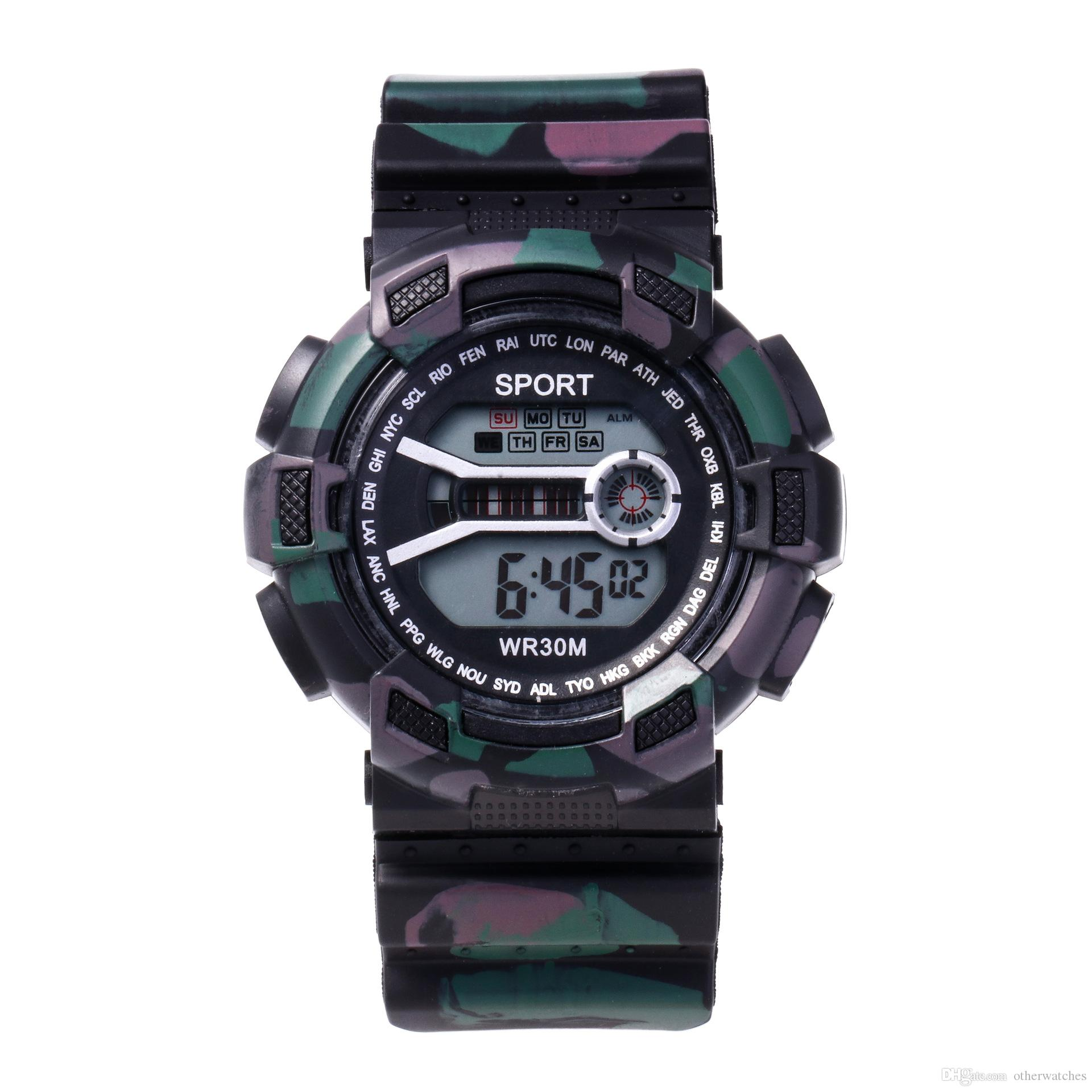 Tarnungsart Multifunktionsbunte wasserdichte Kursteilnehmerfreizeitsport-Stoppuhrwecker elektronische Tabelle Armbanduhren
