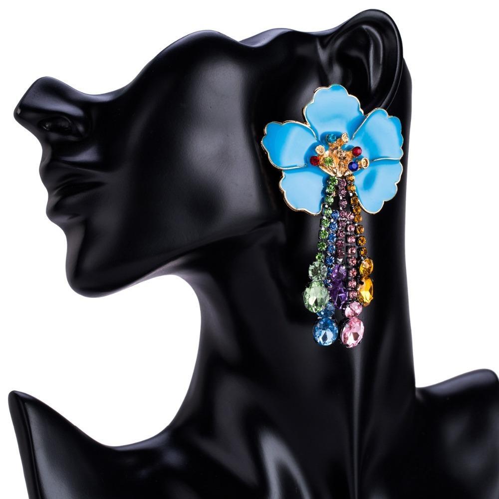 Pendientes florales grandes de la hoja pendientes de moda pendientes pendientes de diamantes de imitación 2018 con flecos pendientes maxi bohemio joyería de la playa S914