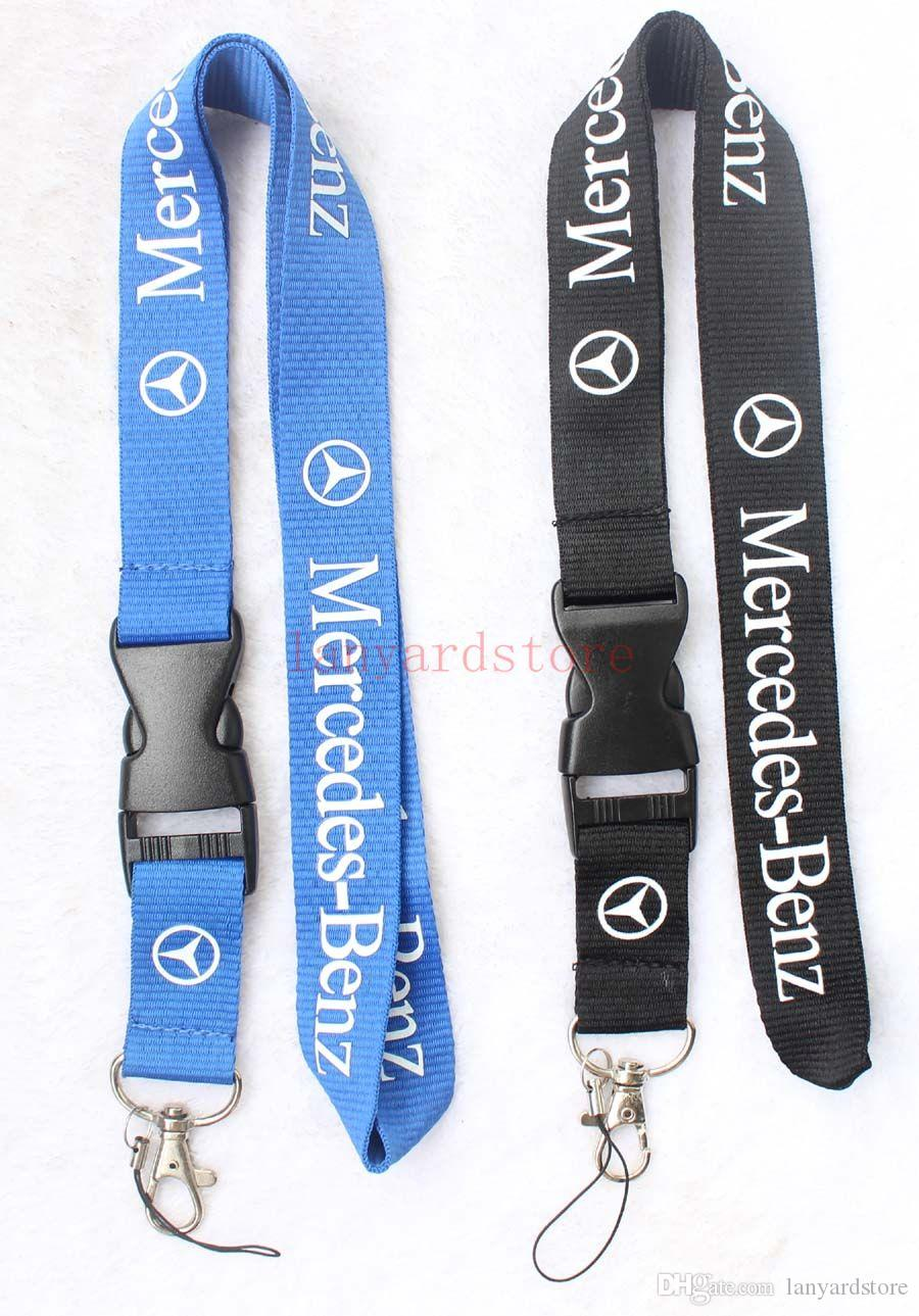 The charisma of a car MERCEDES-BENZ Lanyard Keychain Key Chain ID Badge cell phone holder Neck strap black.