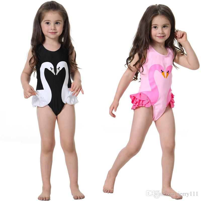 detailing big collection top-rated original 2019 Girls Swimsuit Cartoon Kids Swimwear With Swimming Cap Parrot Swan  Flamingo Baby Girl Bathing Suit One Piece Swim Wear LC748 From Jerry111,  $6.14 ...