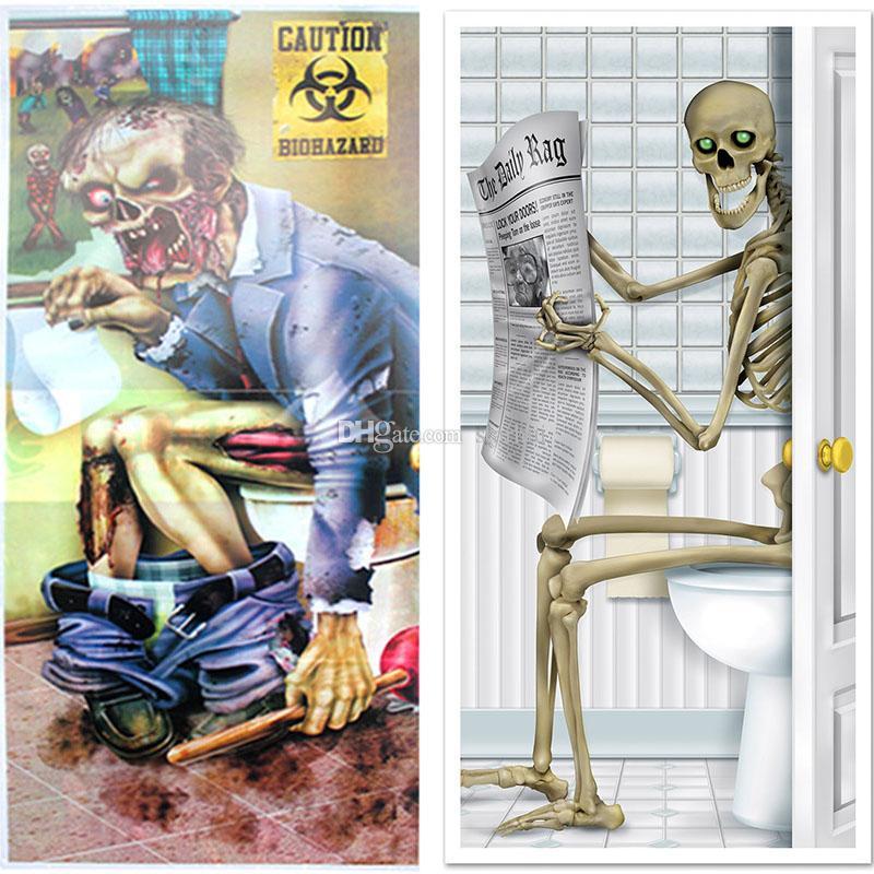 할로윈 장식 유리 창 파티 해골 좀비 욕실 도어 스티커 해골 화장실 도어 커버 벽 장식 장식 무서운 WX9 - 942