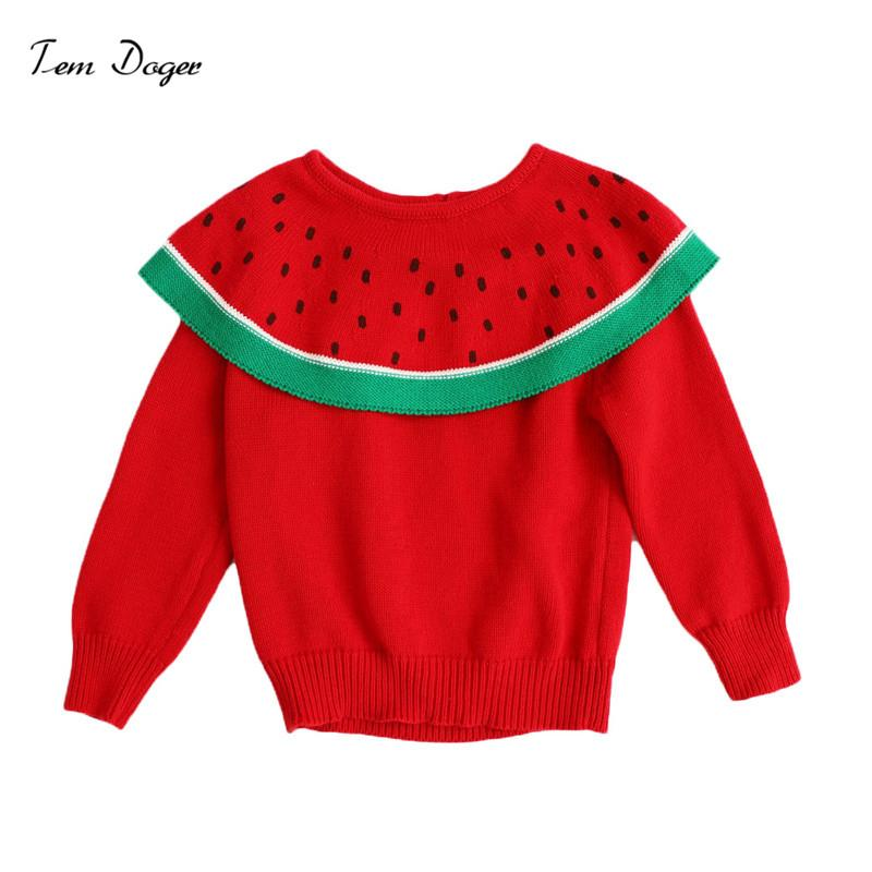 Tem Doger Toddler Girls Maglioni Inverno 2018 New Girl Knitted Clothes Kids Autumn Ruffles Collar Sweater For Girls