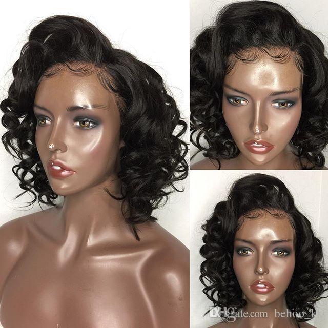 المرأة شعر الإنسان الدنتلة البرازيلي شعر الإنسان الدانتيل الجبهة غلويليس الرباط الجبهة 130 ٪ الكثافة بوب قص شعر مستعار فضفاض موجة سوداء قصيرة
