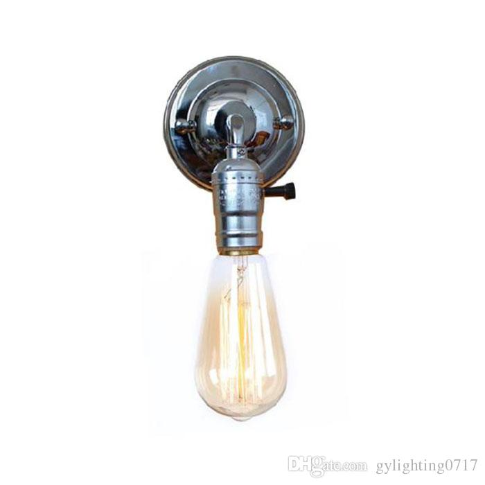 120v 230v nave libre lámparas de pared de América Europa País ilumina Retro Vintage Edison casa cromo de plata promoción interruptor de la perilla