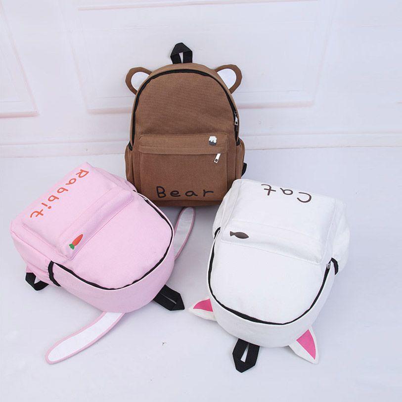 New Harajuku Cute Cartoon Backpack Unisex 3D Letter Long Ears Rabbit Cute Cat Brown Bear Women Schoolbag Men Travel Shoulder Bag