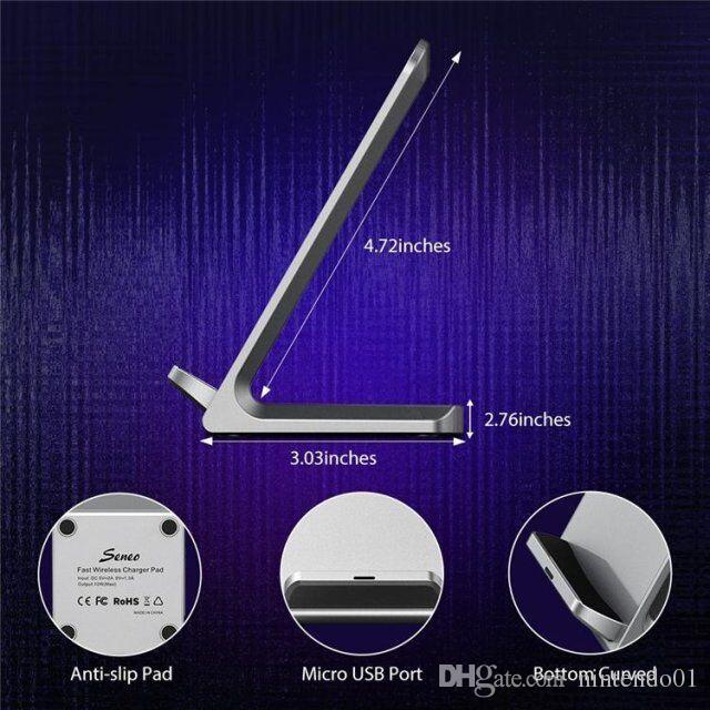 Caricabatterie per telefoni cellulari Dual Coils Qi Dock di ricarica wireless a ricarica rapida per iPhone Samsung S8 S7 Stand di ricarica Pad Smartphone