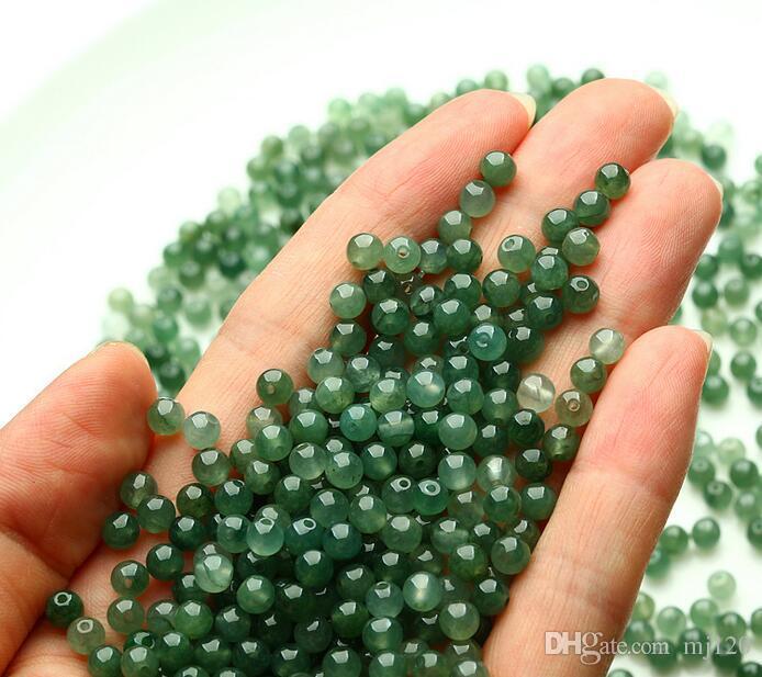 Myanmar natural A goods jade DIY loose beads jade beads ice seed green beads 3--4mm jade bracelet