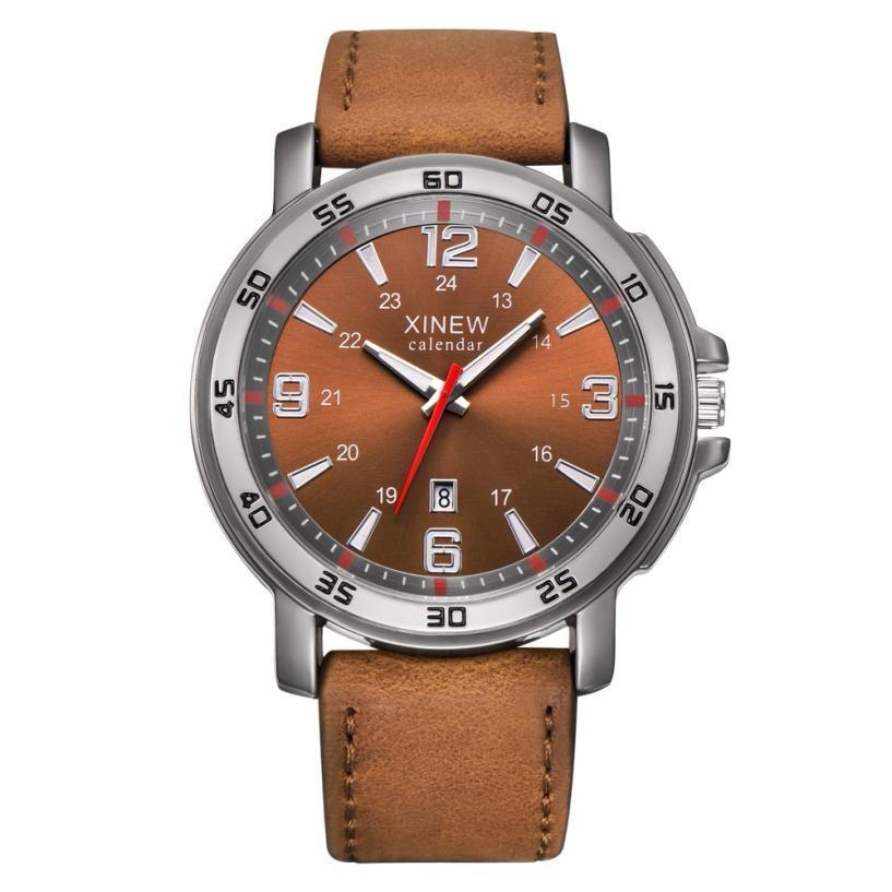Las mejores marcas de moda Hombres Deportes exhibición de la fecha de piel de acero inoxidable del diseño simple de cuarzo analógico reloj de pulsera de reloj xfcs
