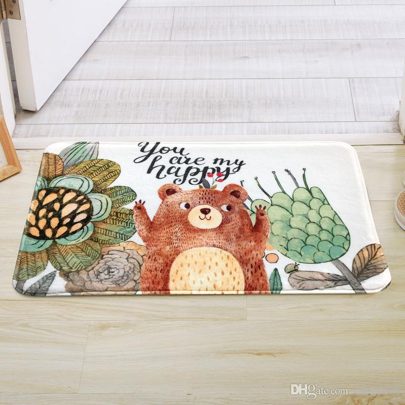 Lovely Bear Children Cartoon Floor Mat Living Room Door Mat Kitchen Anti-slip Water Adsorption Foot Mat Bedroom Bed Side Carpet Kitchen Rugs