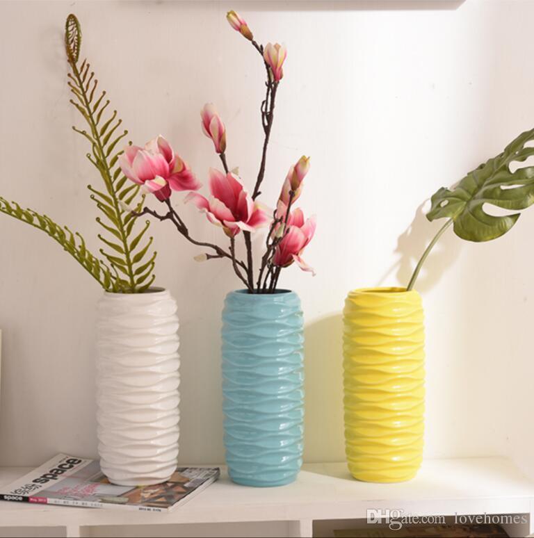 Modern 36Ceramic Vase for Home Decor Tabletop Vase white black yellow color choice & Modern 36Ceramic Vase For Home Decor Tabletop Vase White Black ...