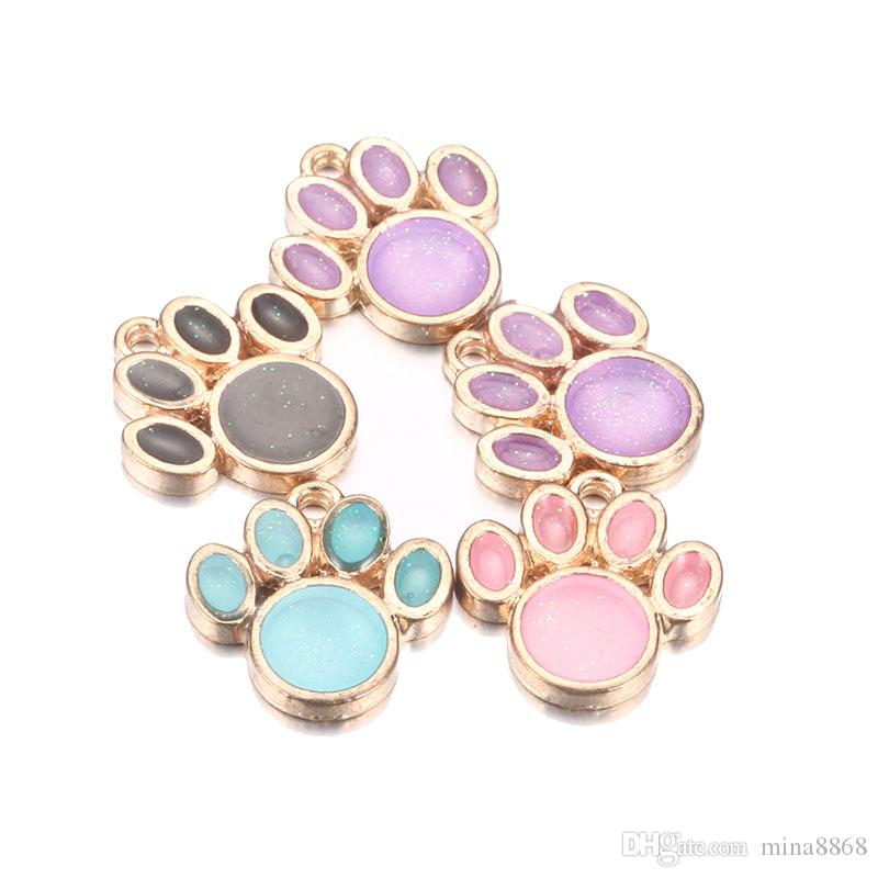 Wholesale Colorful Bling Bling Bear Paw Print Enamel Pendant Charms Oil Drop Claw Floating Charms fit DIY Bracelet Jewelry Accessory