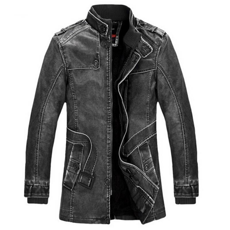 Nice Winter Leather Jacket Men Slim Warm Mens Washed Leather Motorcycle Biker Jackets Standing Collar Coat Outdoors Parka