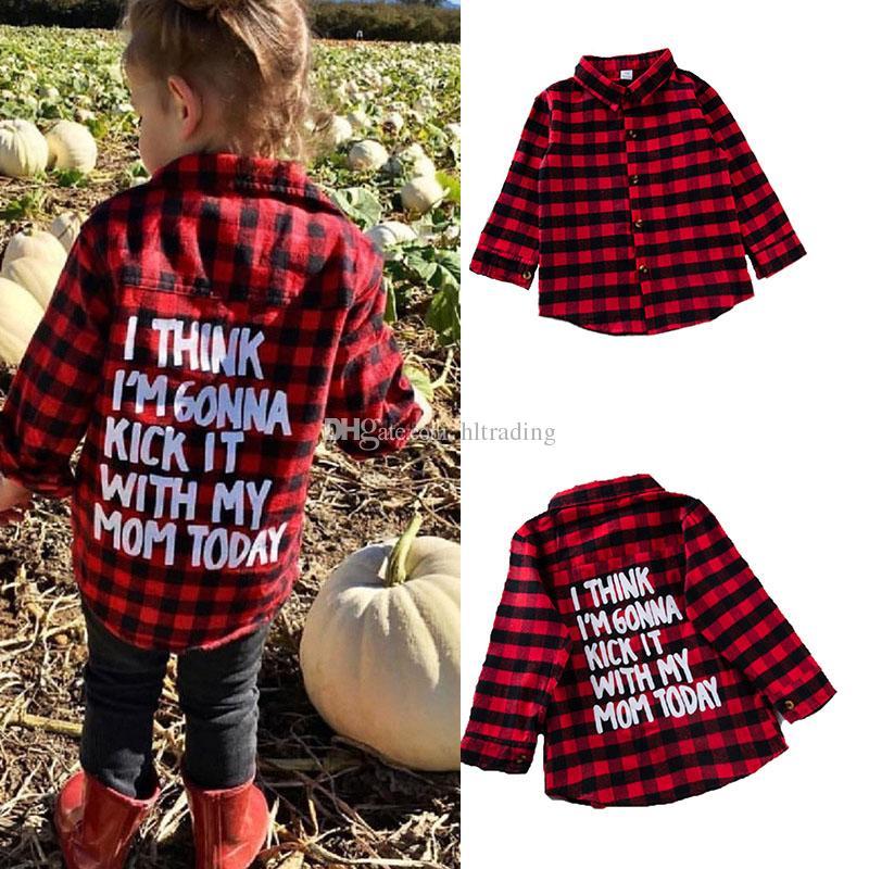 طفل رضيع فتاة طويلة الأكمام البلايد قميص أحمر أسود شعرية طويلة الأكمام قمم بلوزة عارضة أبلى إلكتروني طباعة معطف الاطفال الملابس C5320