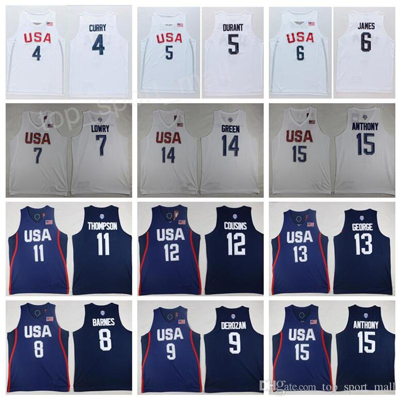 Hombre 2016 EE.UU. Jersey Sueño Equipo de baloncesto 4 Jimmy Butler 5 Kevin Durant 6 LeBron James 10 Kyrie Irving Paul George Carmelo Anthony